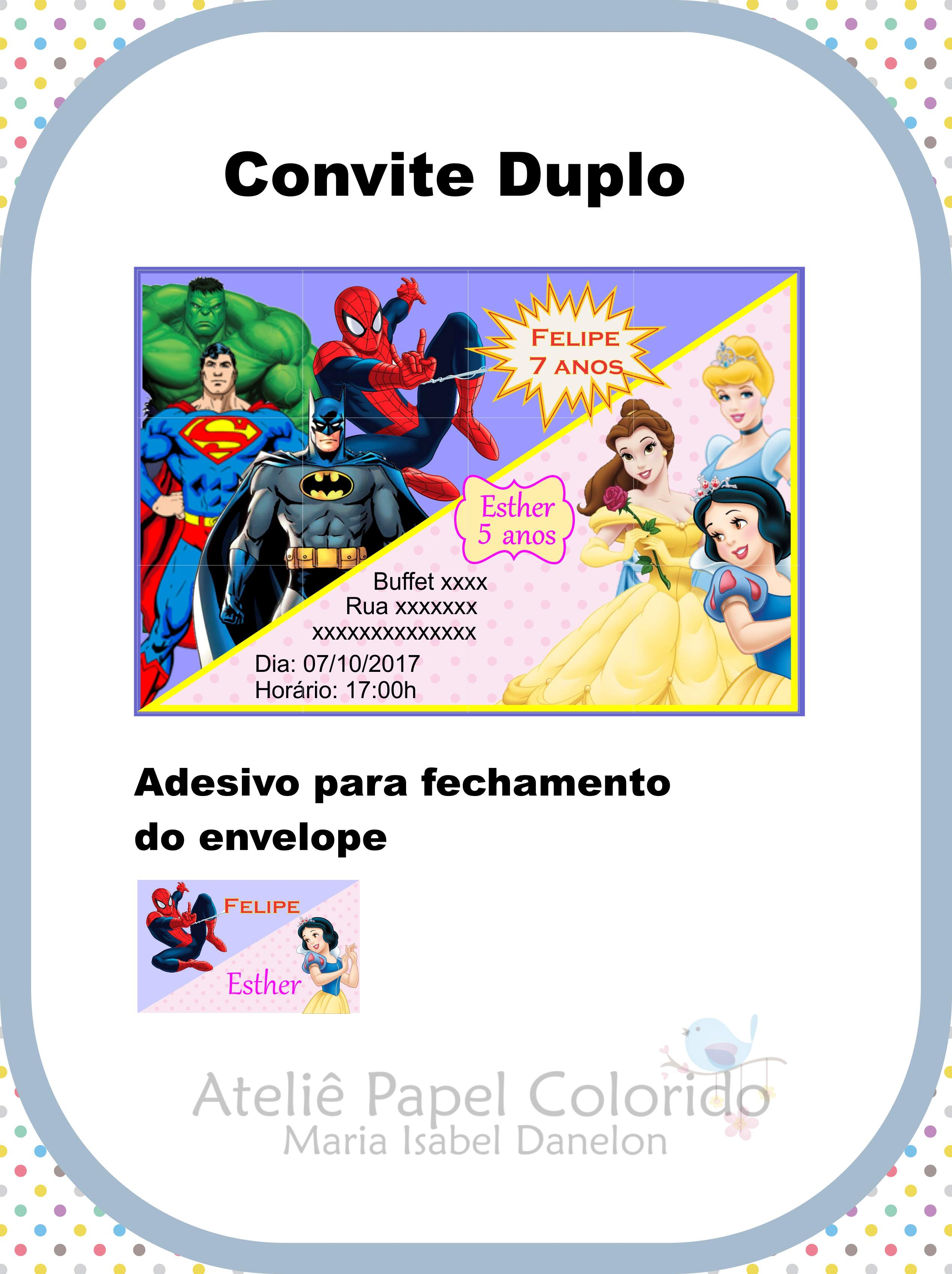 Convite Duplo Elo7