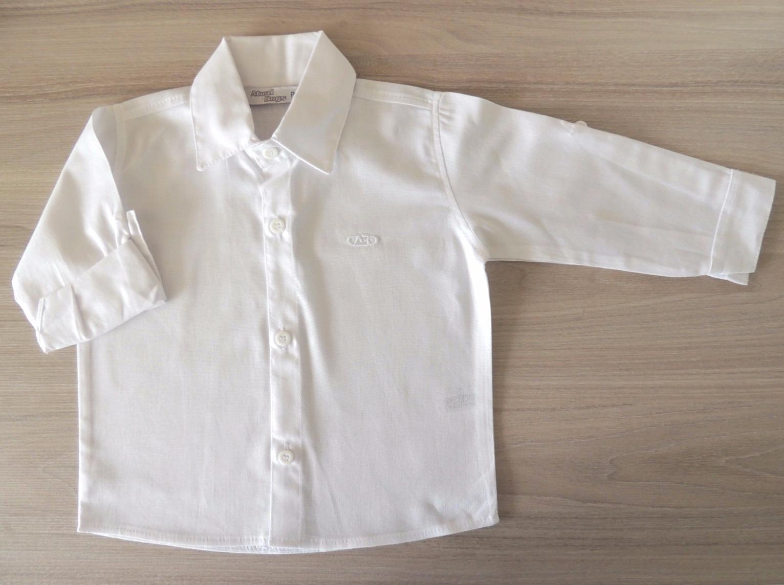 e58aef2d71 Camisa Social Infantil e Bebê Branca no Elo7