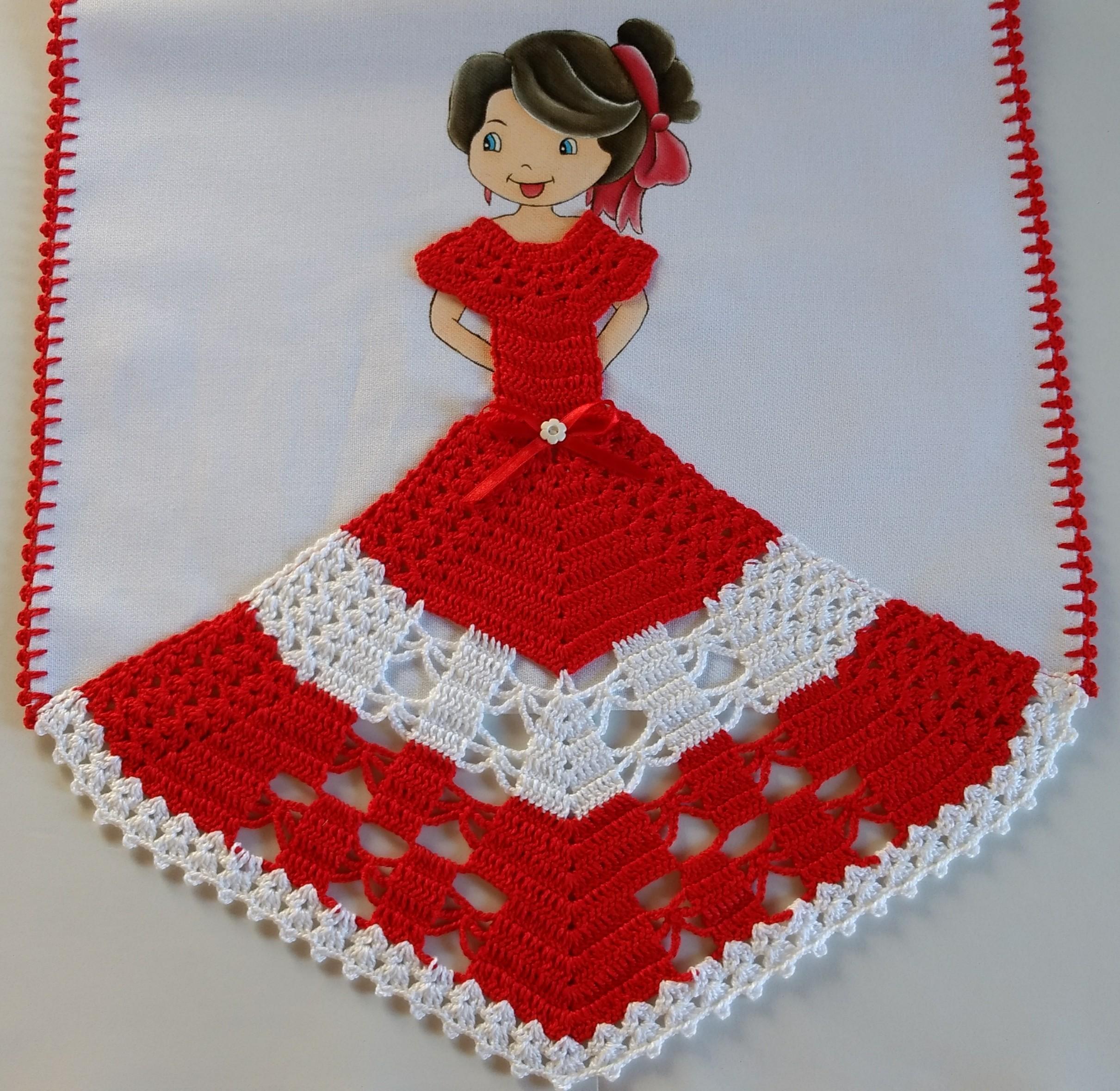 Top Pano de prato boneca com vestido vermelho e branco. no Elo7  GJ69