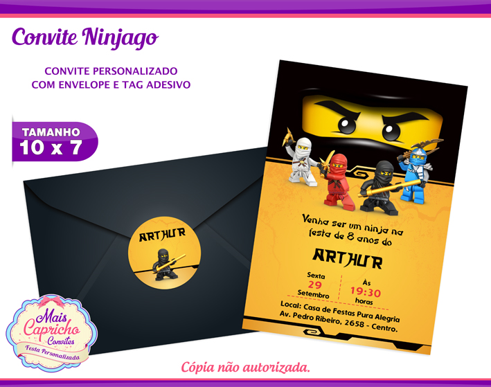 Convite Ninjago No Elo7 Mais Capricho Convites A3e668