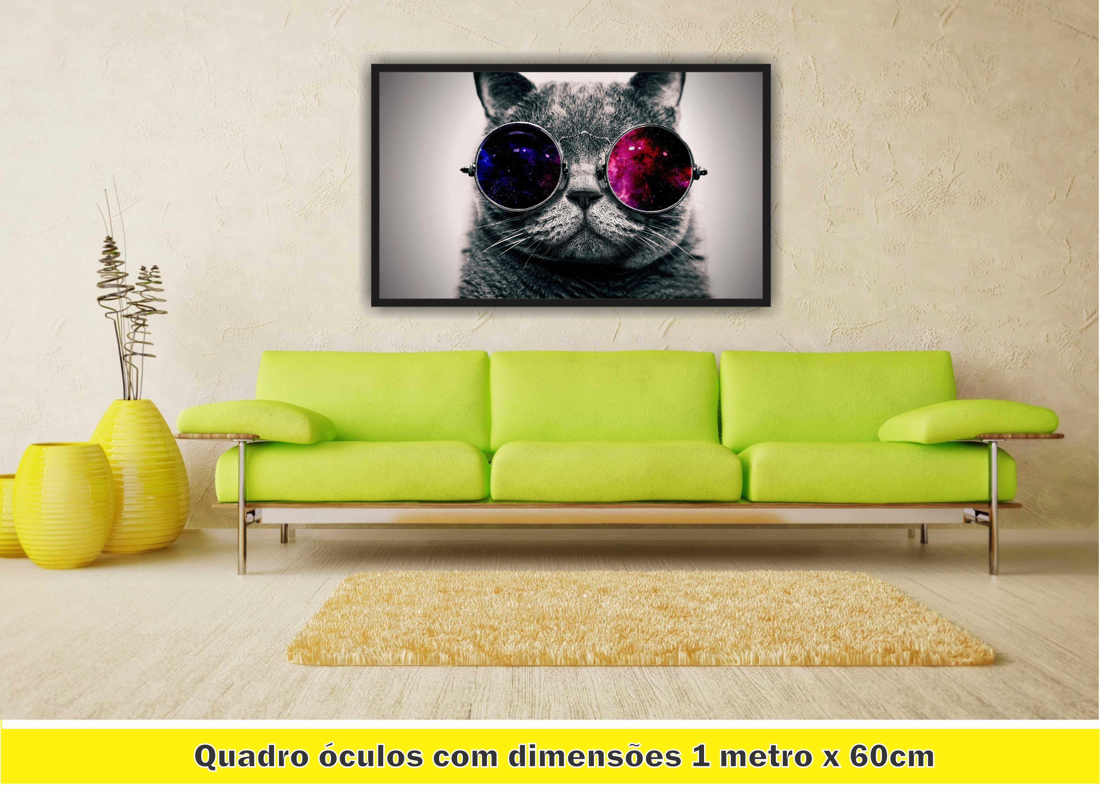 Quadro Gato De Óculos Felino PET Decoração Salas Interiores no Elo7   LM  QUADROS (A53B20) c5e73f4b26