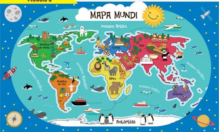 mapa mundi criança Papel de Parede Mapa Mundi Infantil 5 no Elo7 | GirafaShop (A53F00) mapa mundi criança