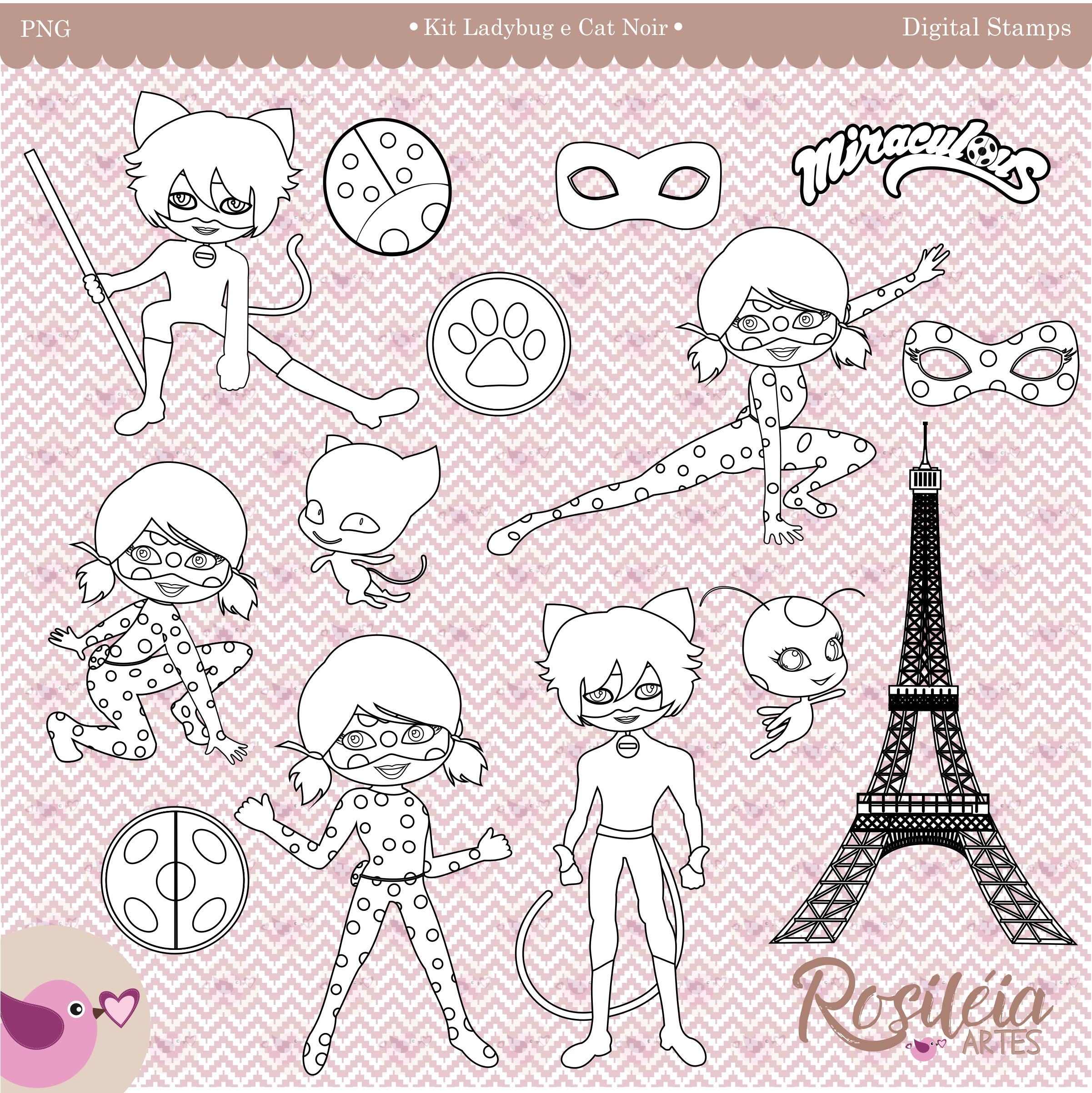 Digital Stamp Ladybug E Cat Noir Colorir No Elo7 Rosileia