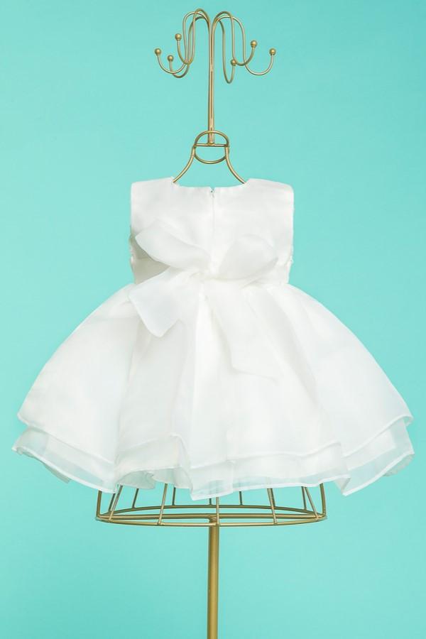 Vestido Branco Renda Organza Batizados Festa 3 A 6m