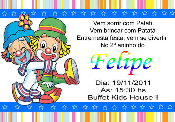 Convite Personalizado Digital Infantil Patati Patata No Elo7