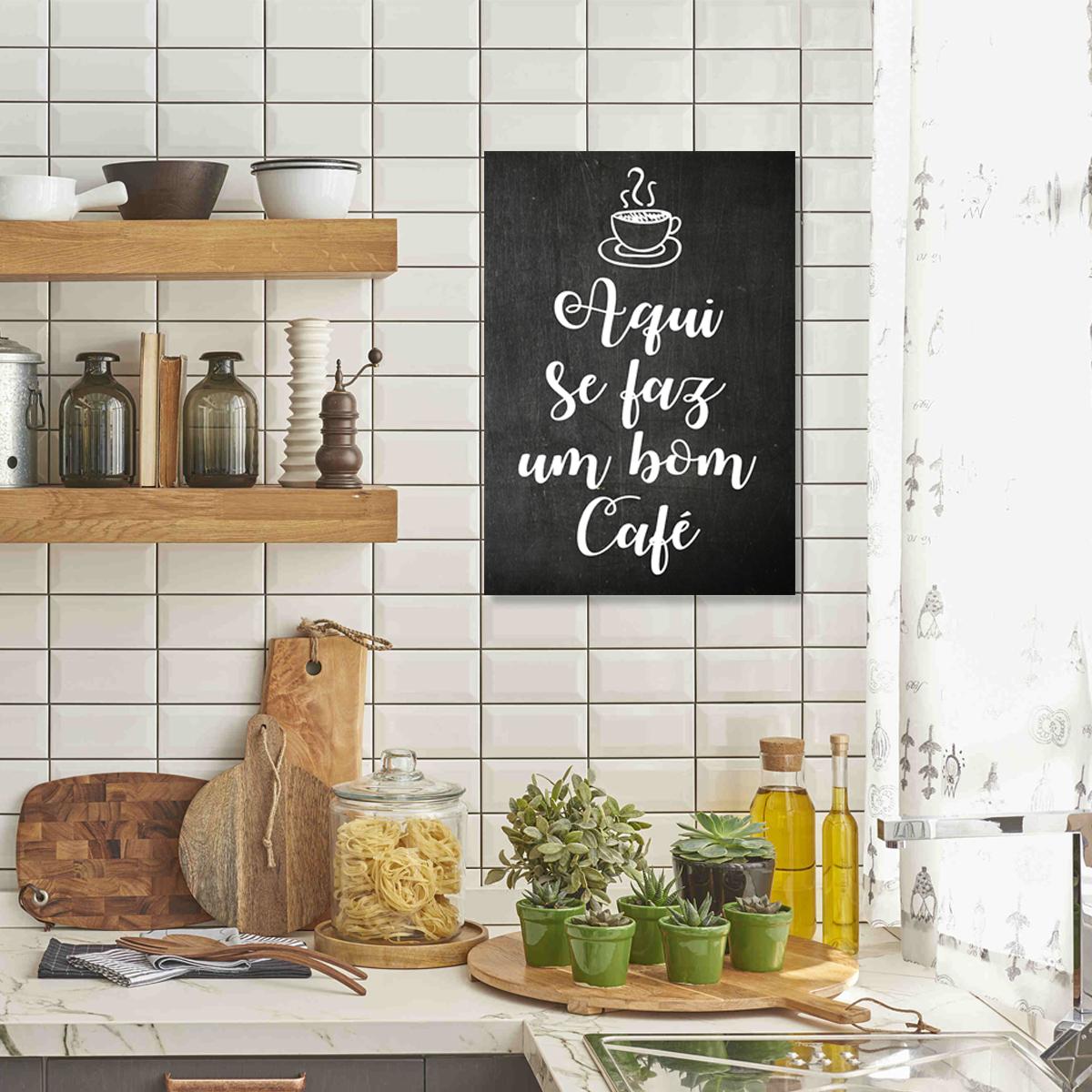 Quadro Para Cozinha Rea Gourmet Frase Bom Caf T188 No Elo7