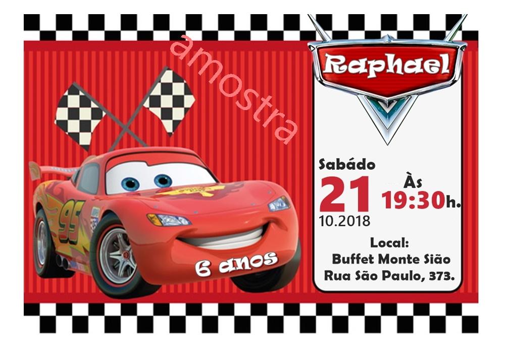 Convite Carros Mcqueen Elo7