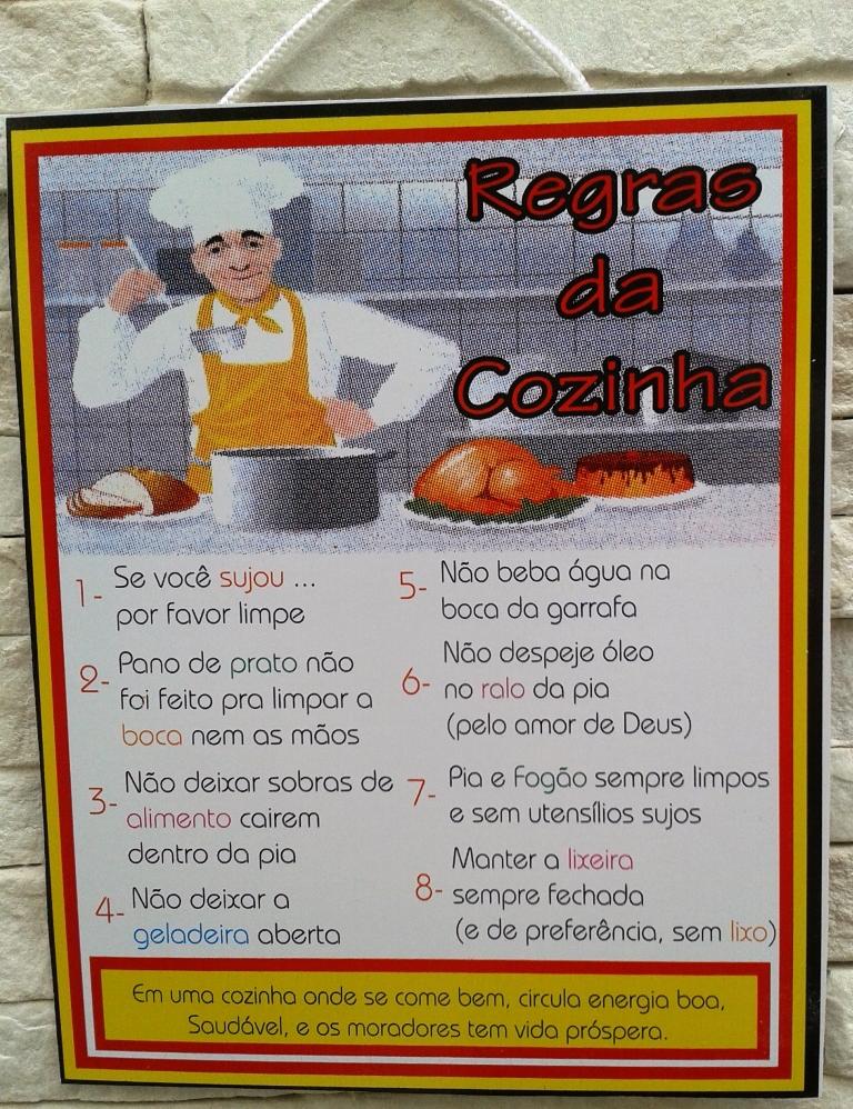 Placa Decorativa Regras Da Cozinha Elo7