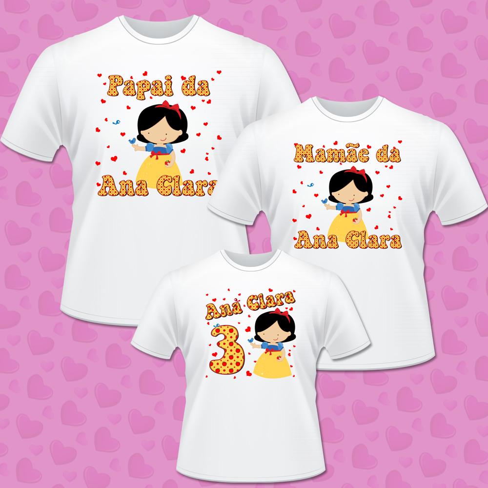 Kit 03 camisetas personalizadas Branca de neve no Elo7  c206fd1be76