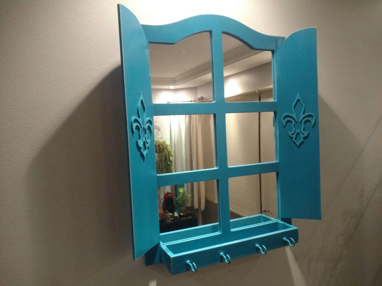 Suficiente Espelho Janela Azul Tiffany - Tam. G no Elo7 | Decorachados (A784A4) LN88
