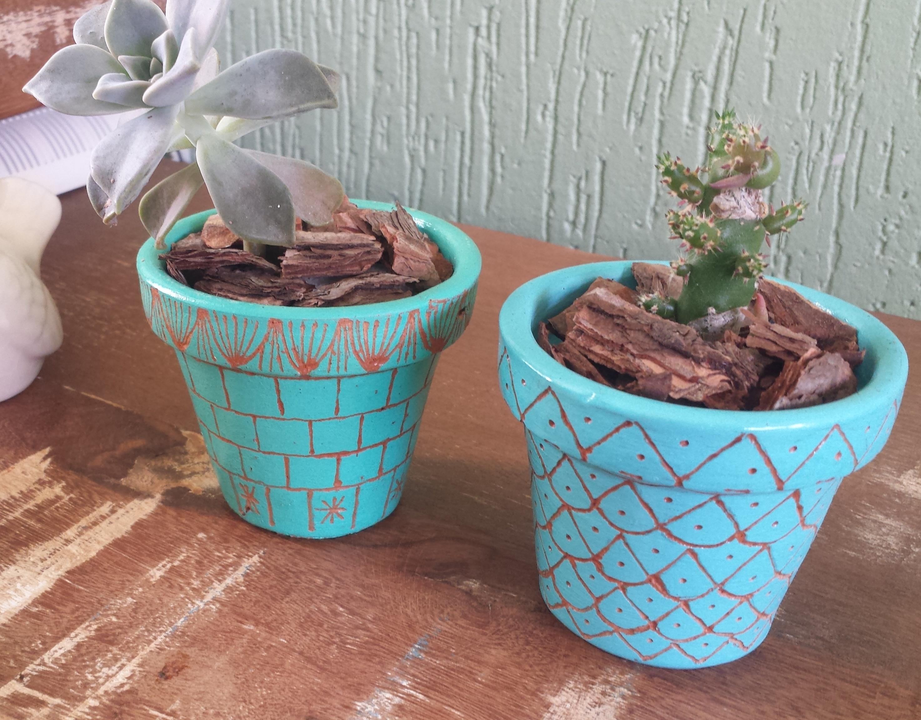 Design Of Kit 2 Vasos de Cerâmica - Vasinhos para Cactus e Suculentas e preço