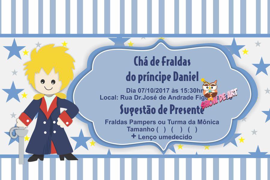 Arte Convite Chá De Fraldas Pequeno Príncipe No Elo7 Show De Art