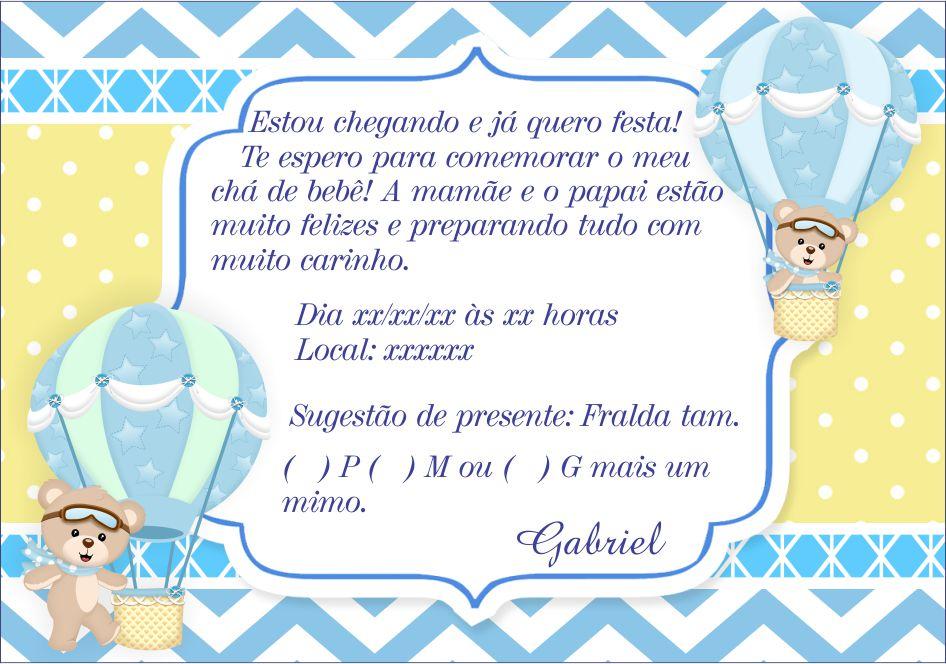 Convite Ursinho Baloeiro Elo7