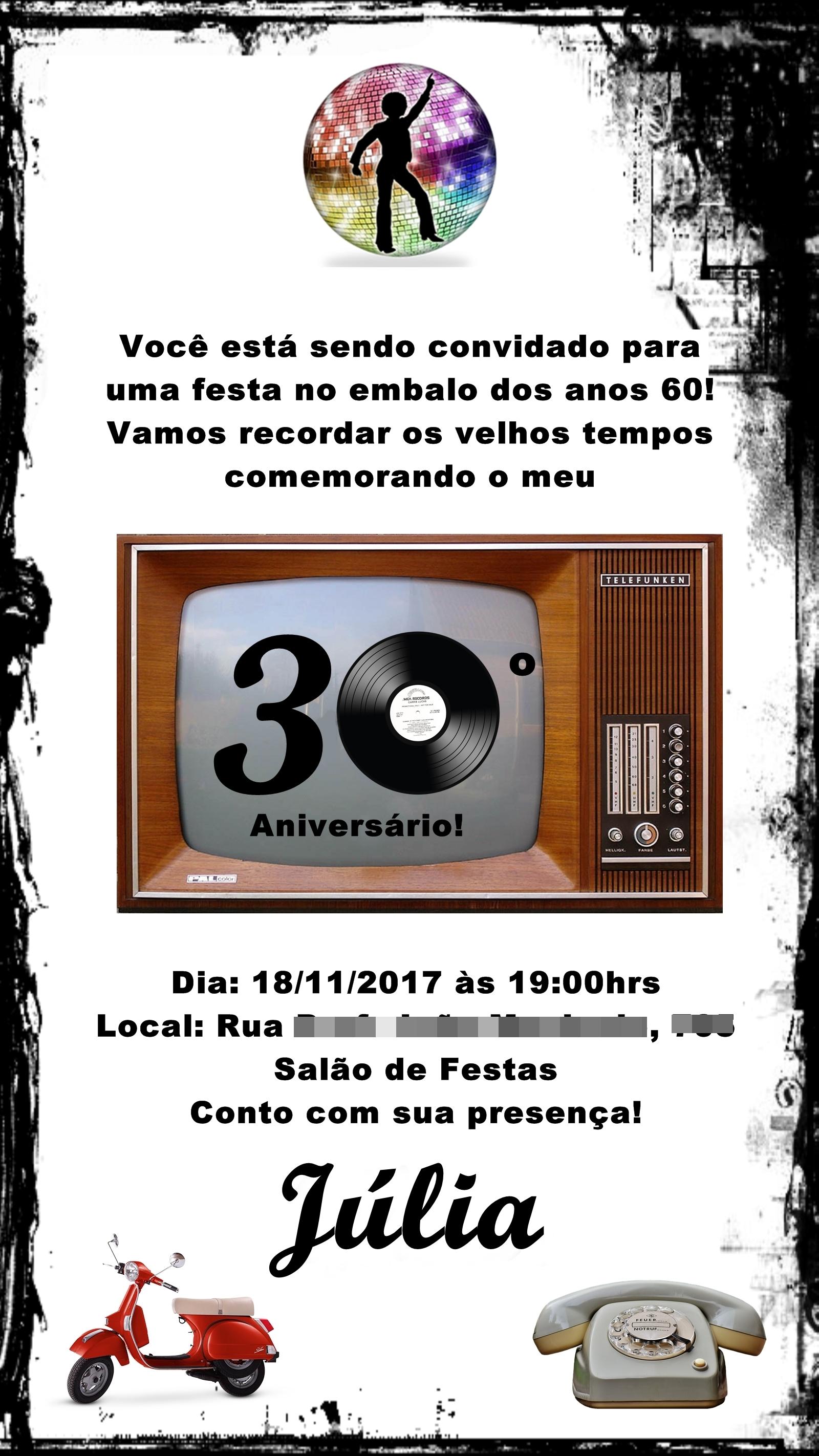 Convite Digital Retrô Anos 60 70 80 E 90 No Elo7 Design Art