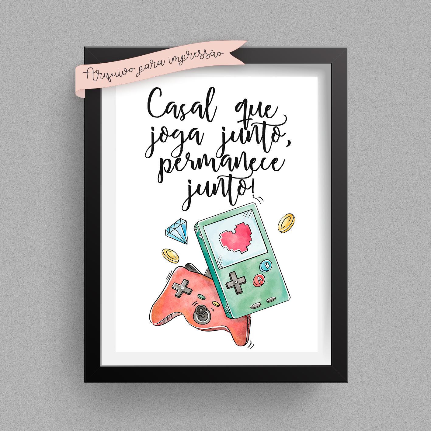 Poster Digital A3 Casal Que Joga Junto Permanece Junto No Elo7