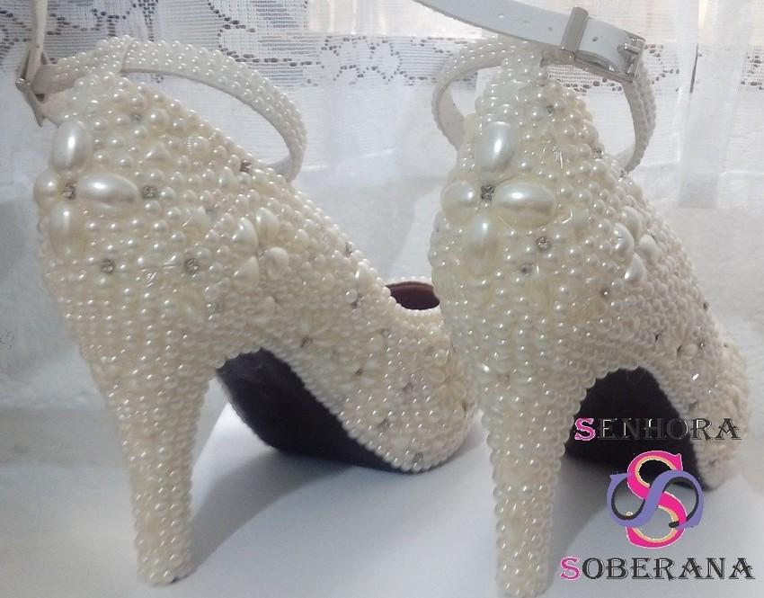 c83d498c6a Sapato Meia Pata perolado off white luxo Cinderela (Grandes no Elo7 ...