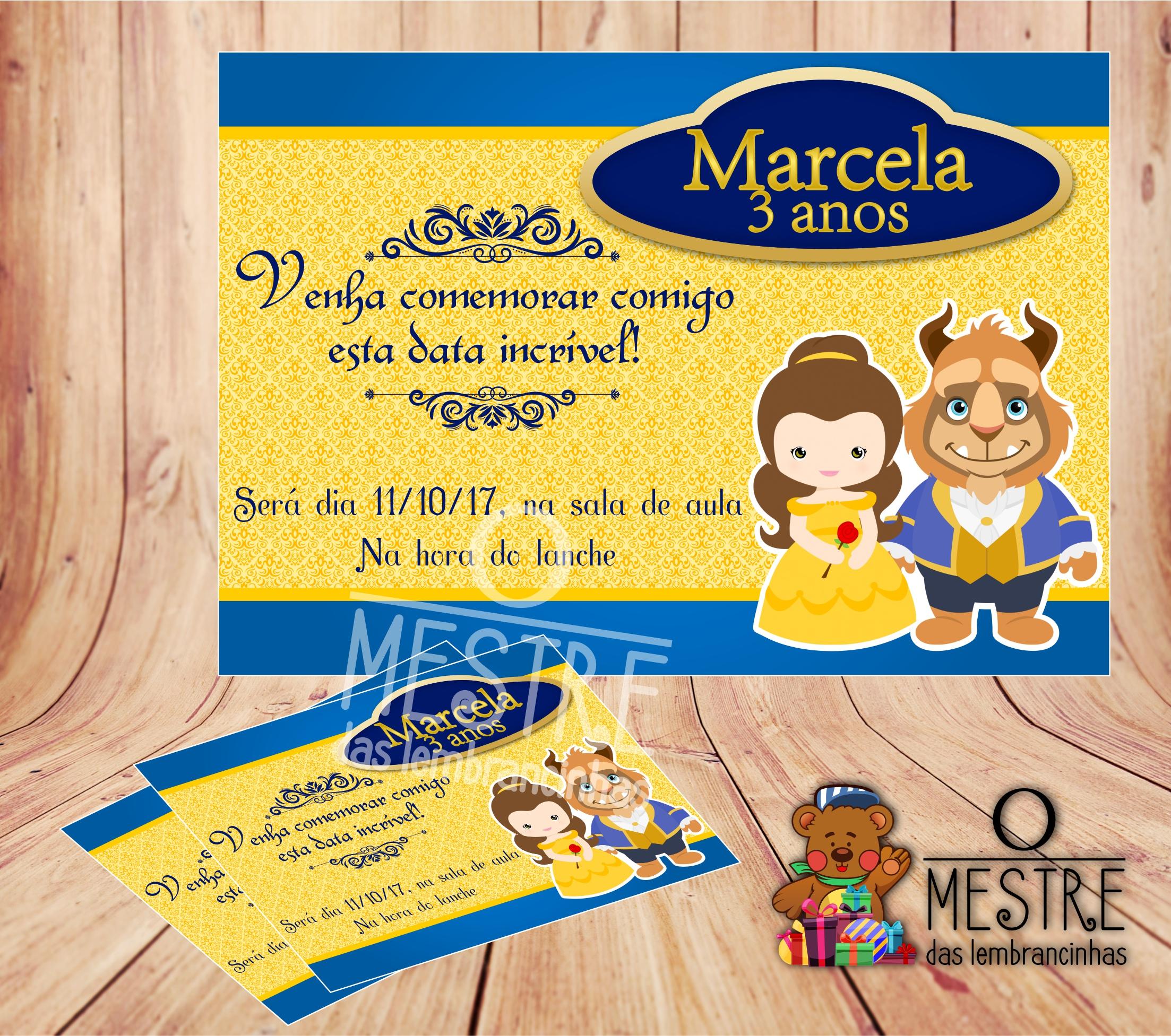 Convite A Bela E A Fera Elo7