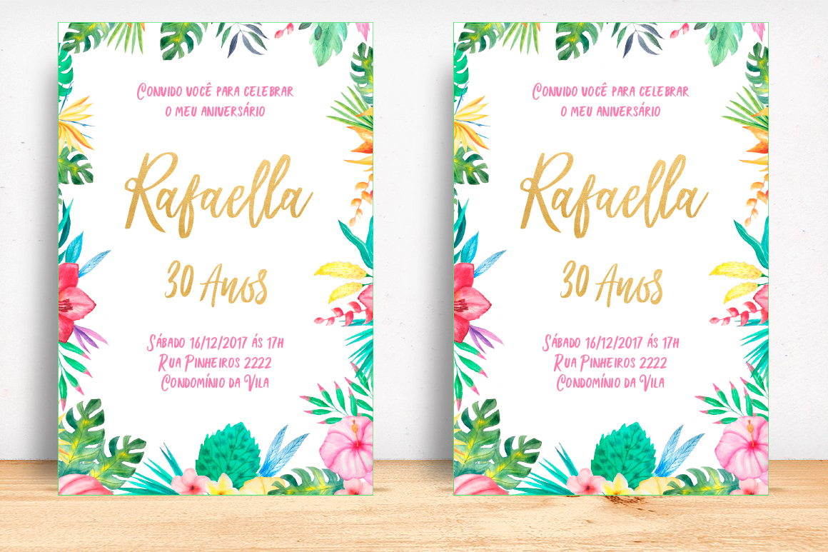 Convite Aniversário Tropical Floral Digital No Elo7 La Paperie