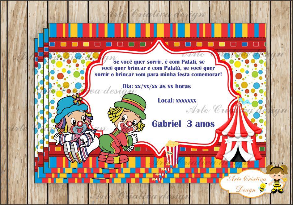 Convite Aniversário Patati Patatá Elo7