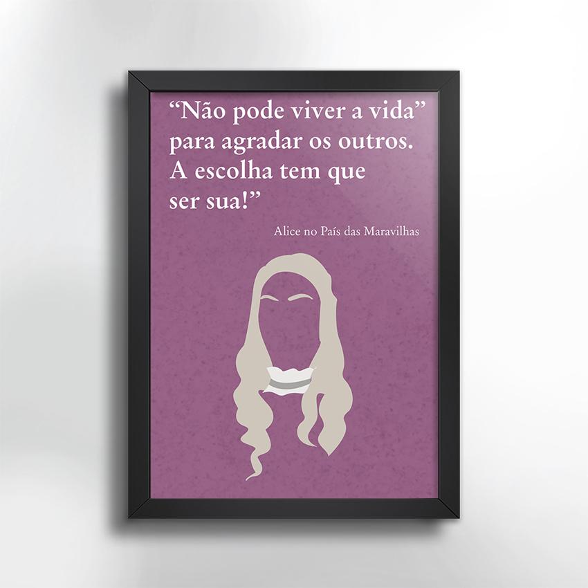 Poster Com Moldura Frase Alice No Pais Das Maravilhas Elo7
