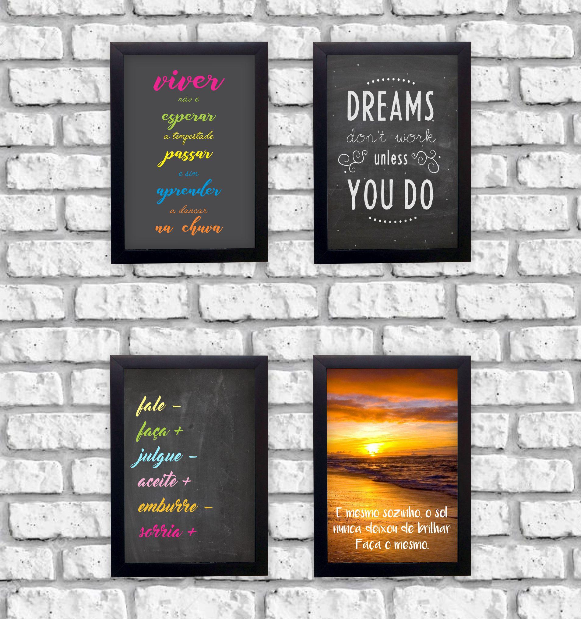 Kit 4 Quadros Decorativos Frases Motivacionais Sonho Moldura