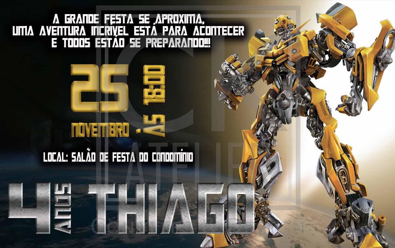 Convite Impresso Transformers Bumblebee Elo7