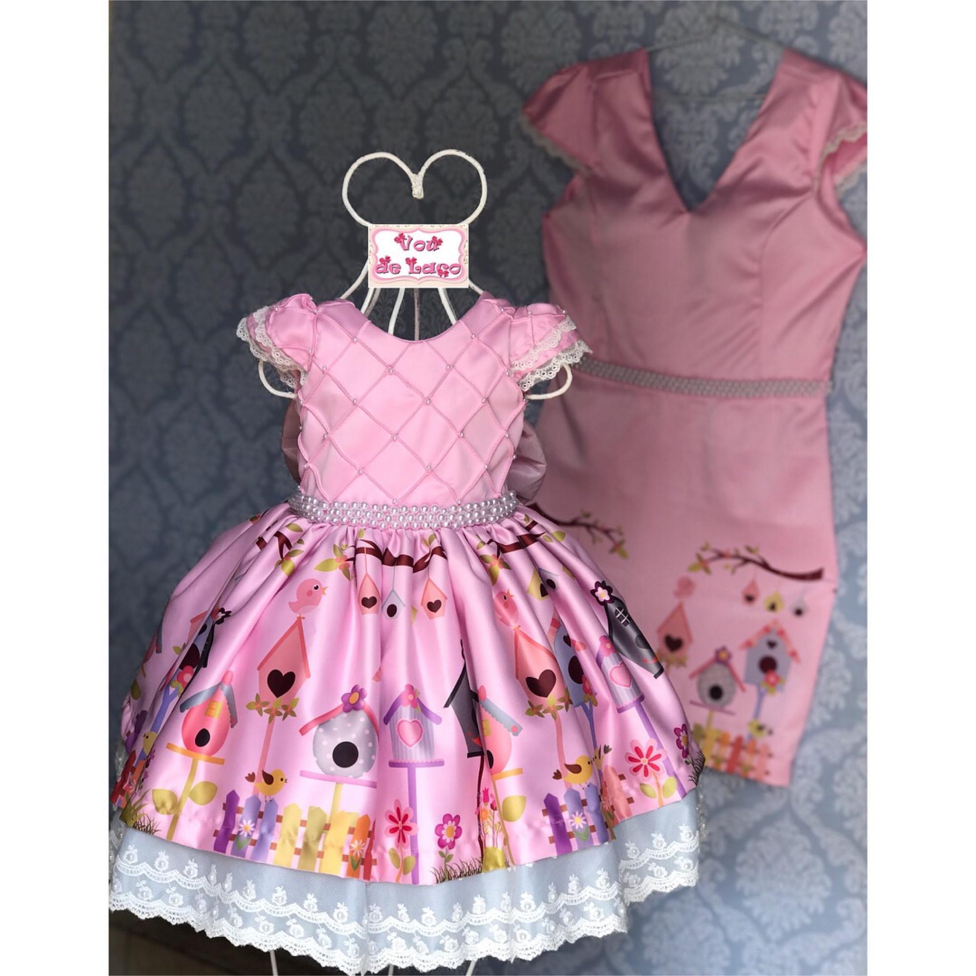 71797ac71ed45c Vestido Mãe e Filha Jardim encantado