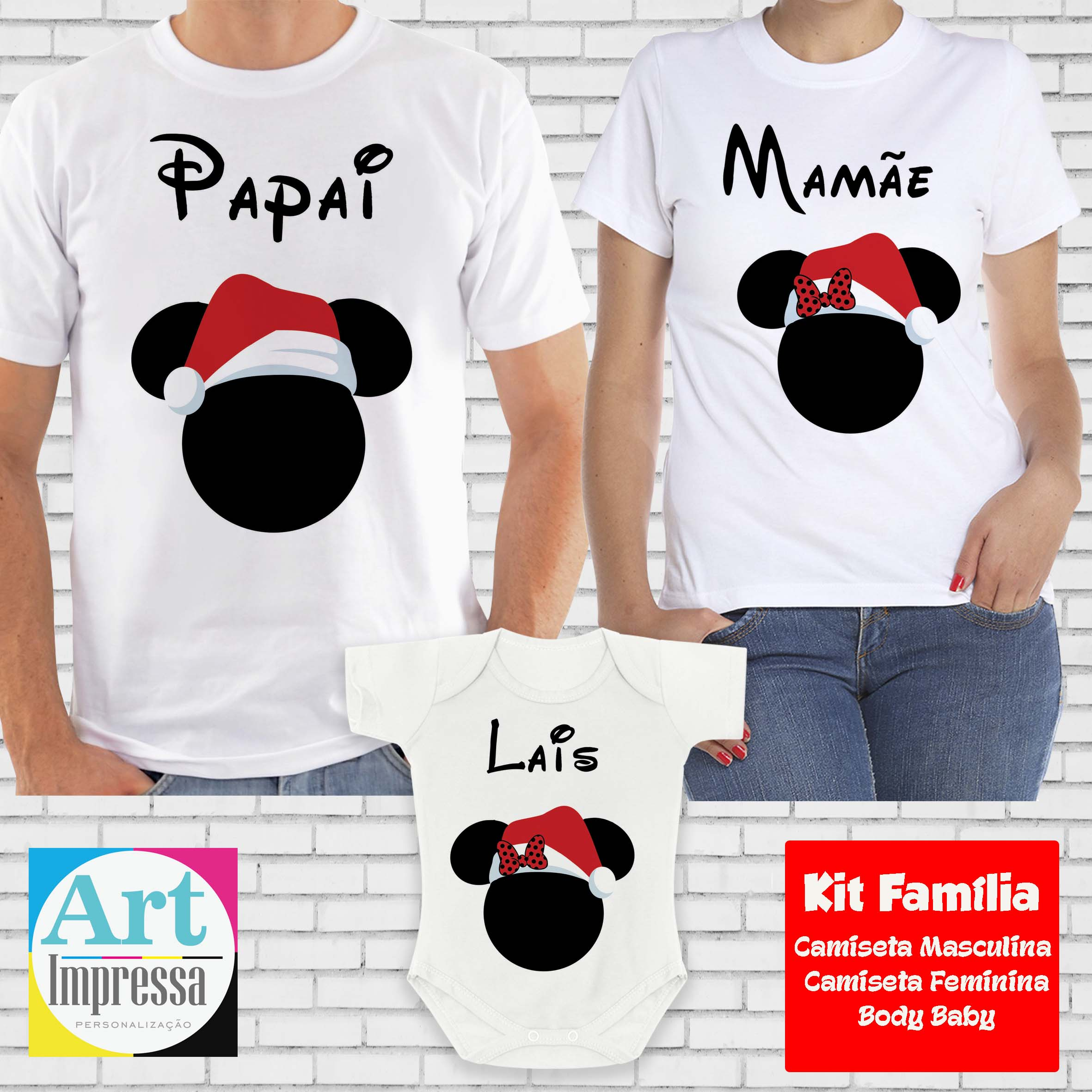 86f57a9bc49b Kit Camiseta Família Mickey e Minnie Natal Pai, Mãe e Filha no Elo7   Art  Impressa Personalização e Impressão (AA24CC)