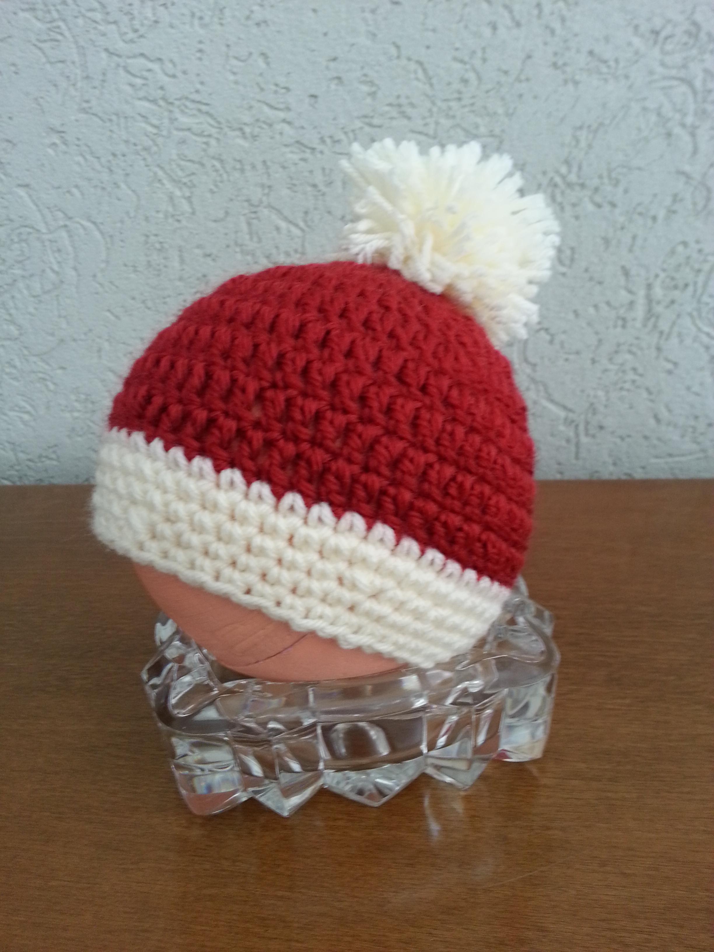 Touca Infantil de Croche Papai Noel  9dc0ce3b14c