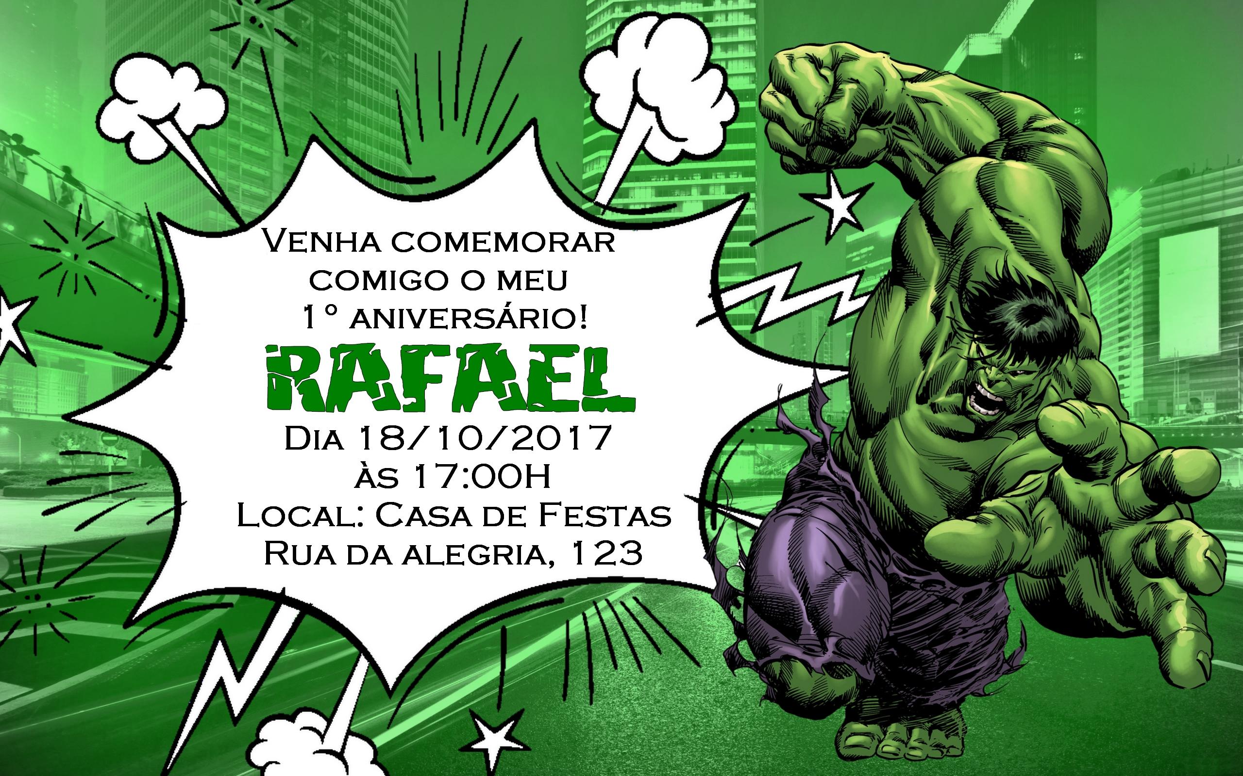 Arte De Convite Hulk Elo7