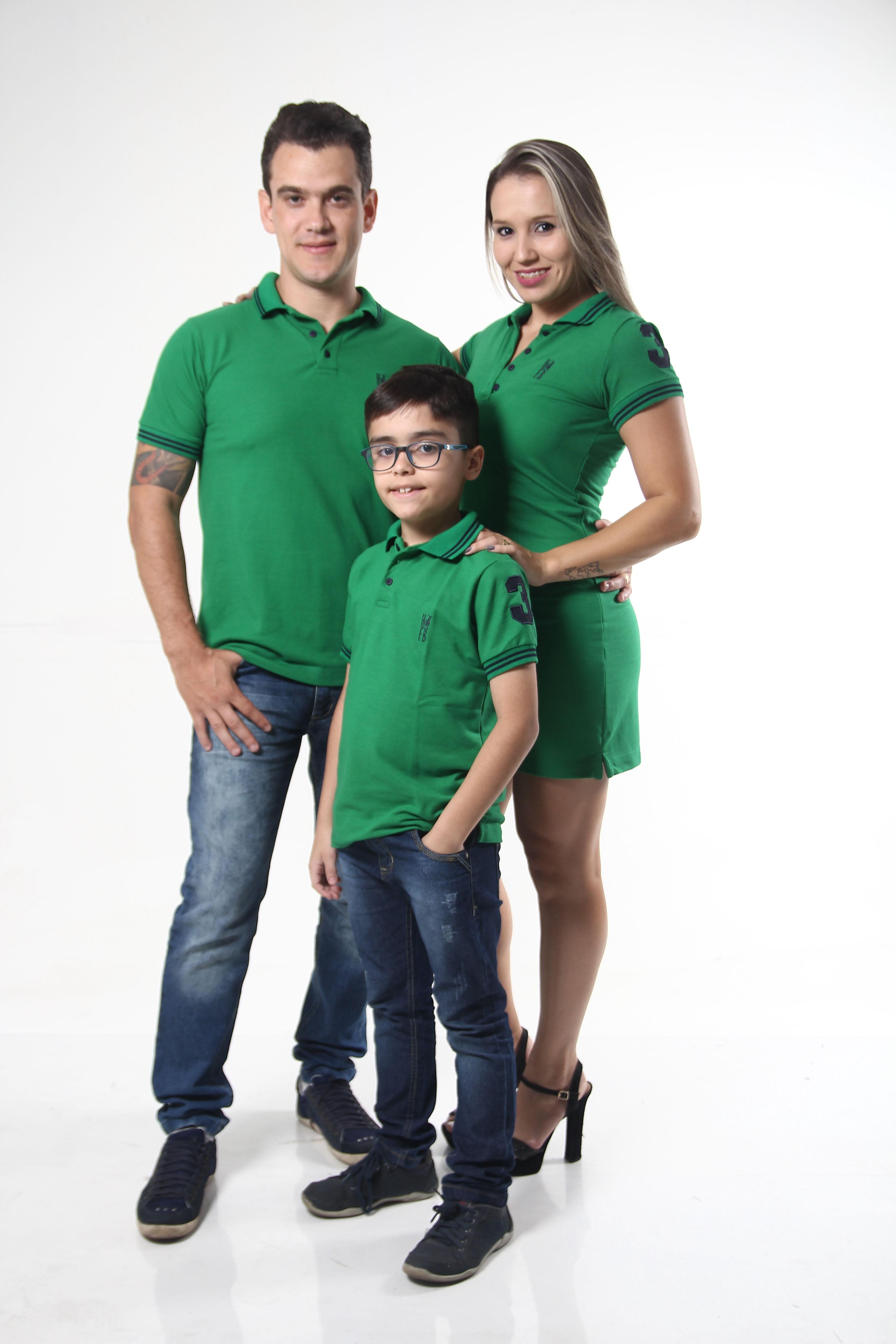 dbd9a2ad8a Kit Família Polo Verde Esperança no Elo7