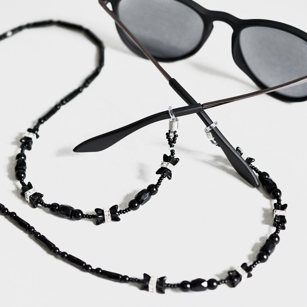 Cordinha de pedrarias para óculos Preto. no Elo7   Bead Shop (ABDC01) be9c13288b