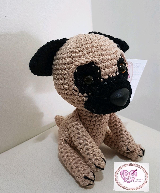 Cachorro Pug Em Crochê Amigurumi Cãozinho Pelúcia - R$ 115,00 em ... | 1449x1205