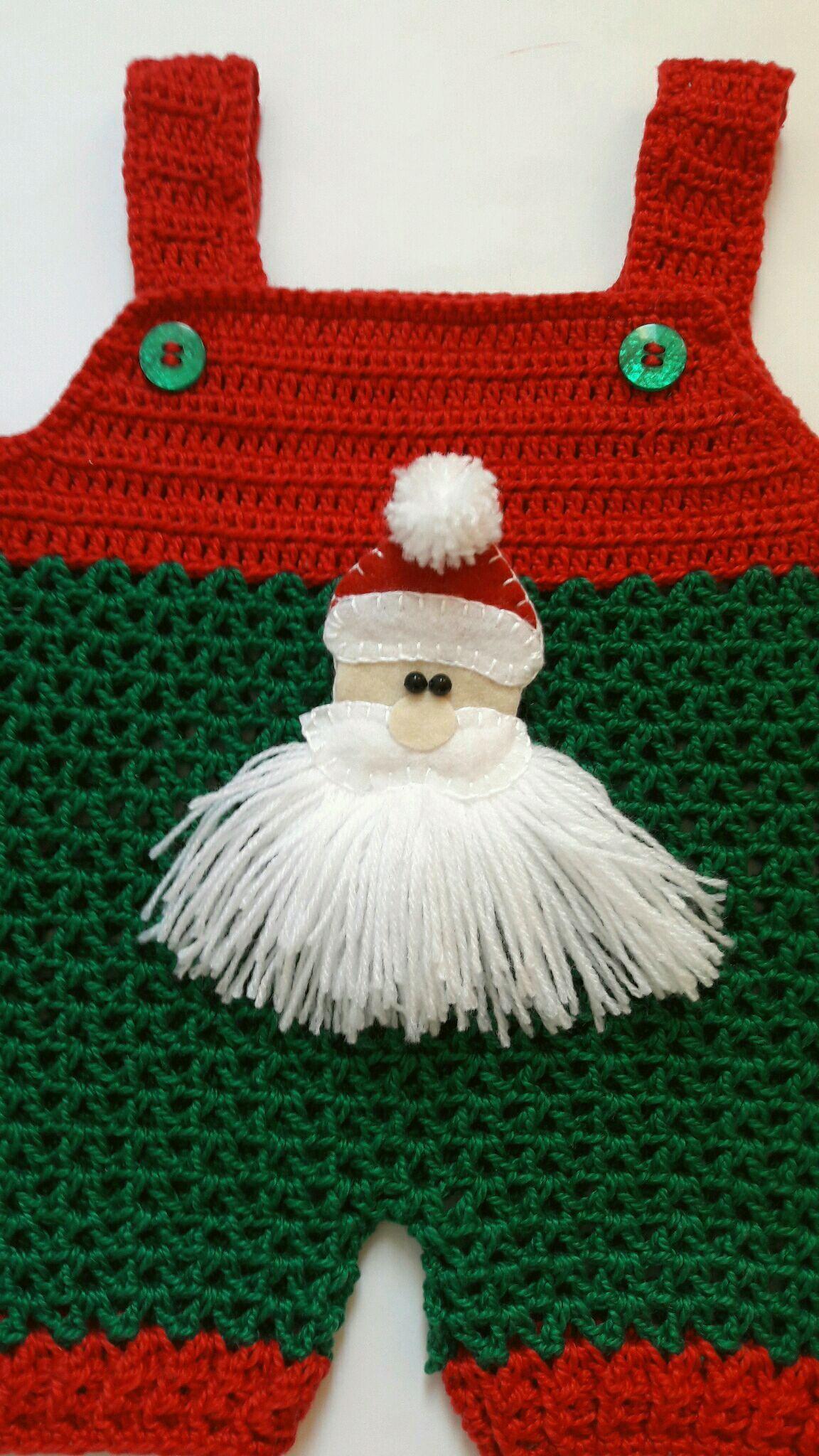 Jardineira Crochê Papai Noel no Elo7  0b38f173535
