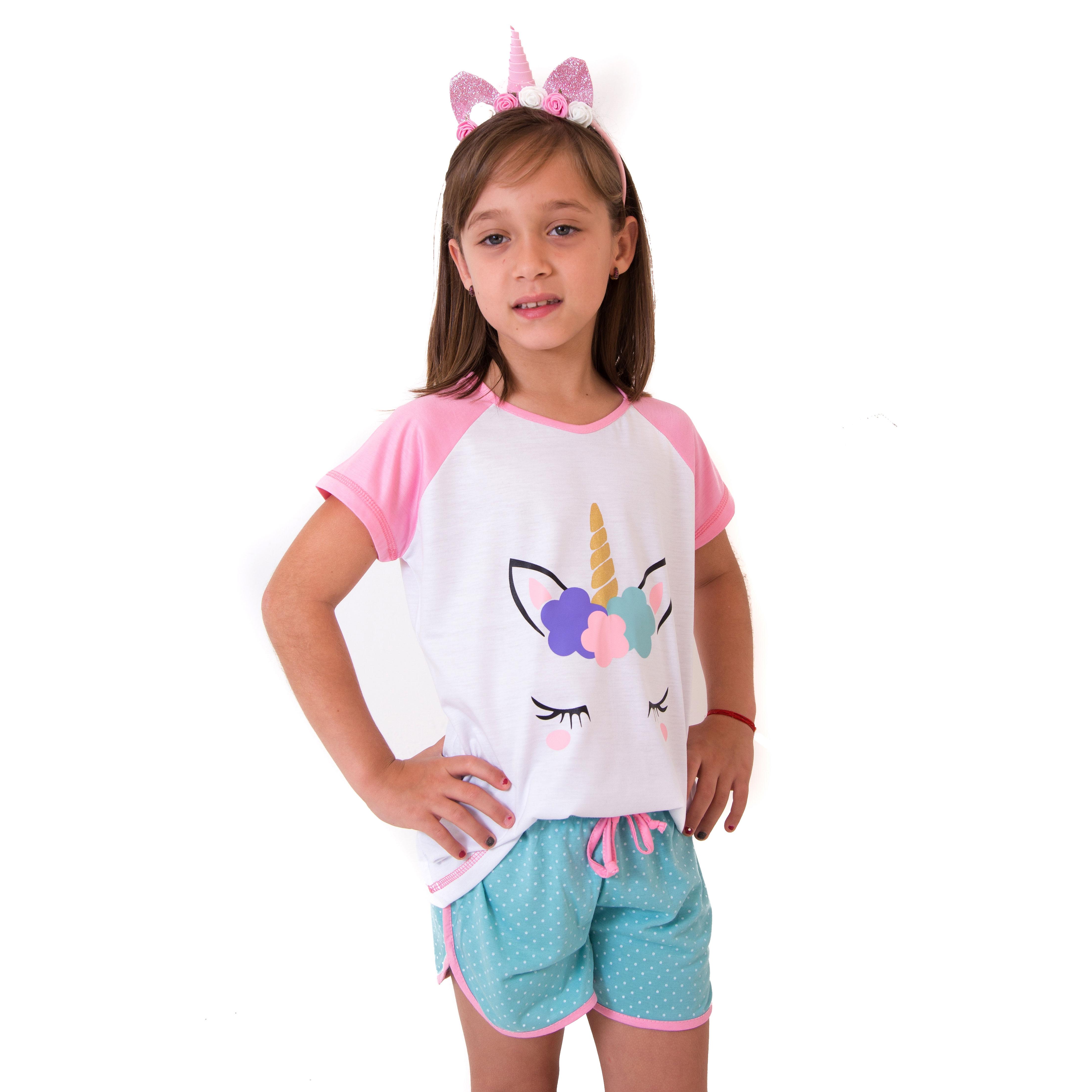 206ae80a4 Pijama + Tiara de Unicórnio Infantil Feminino no Elo7
