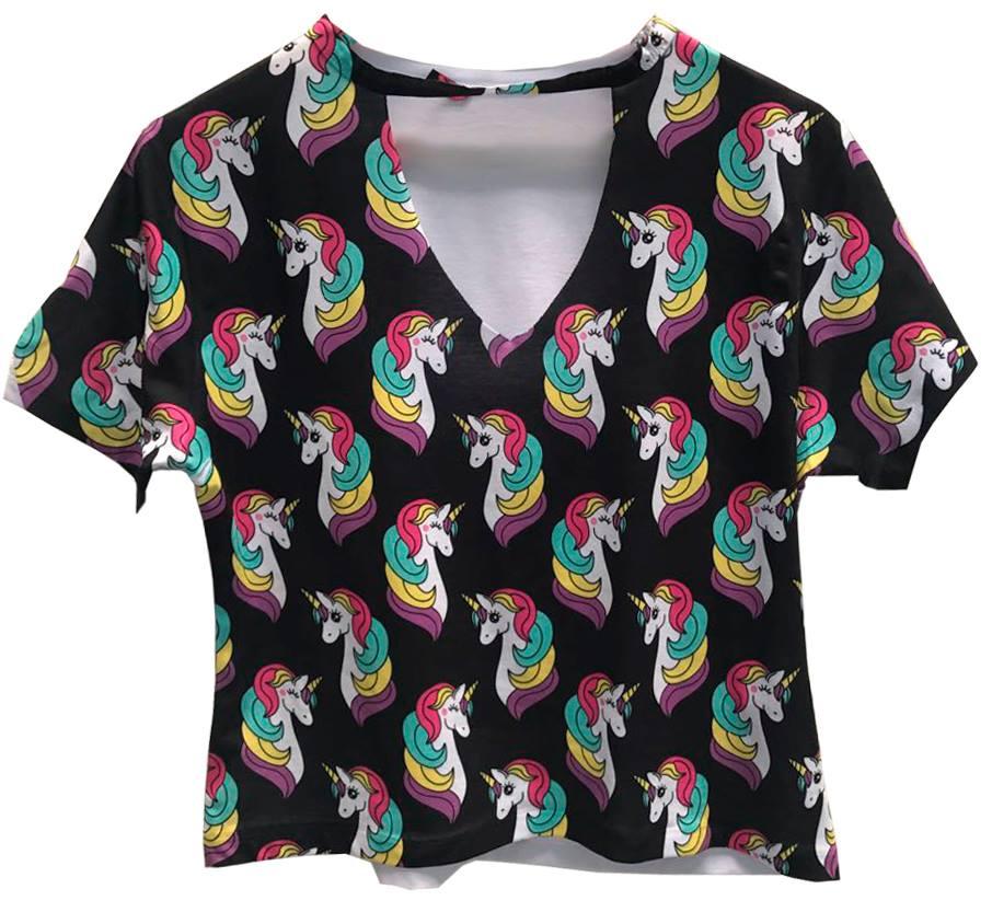 ac6edd6f4a Blusa Chocker Camiseta T shirt Feminina Unicórnios no Elo7 ...