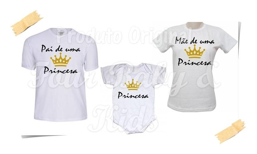 Camiseta Pai Mae E Filha Princesa Elo7