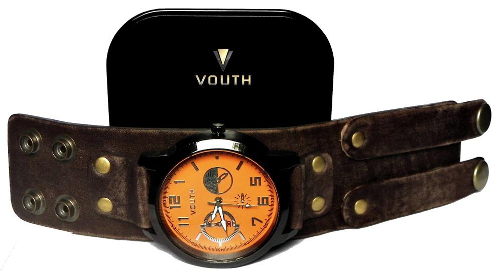 630fa2030be Relógio Bracelete De Couro Masculino no Elo7