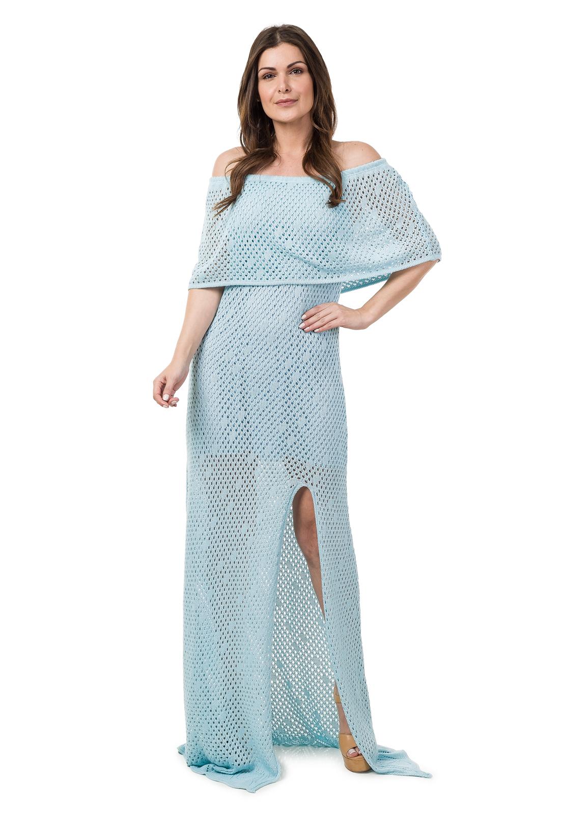 8b3565a10d Vestido Longo Tricot Decote Ombro a Ombro Azul Claro 04929 no Elo7 ...
