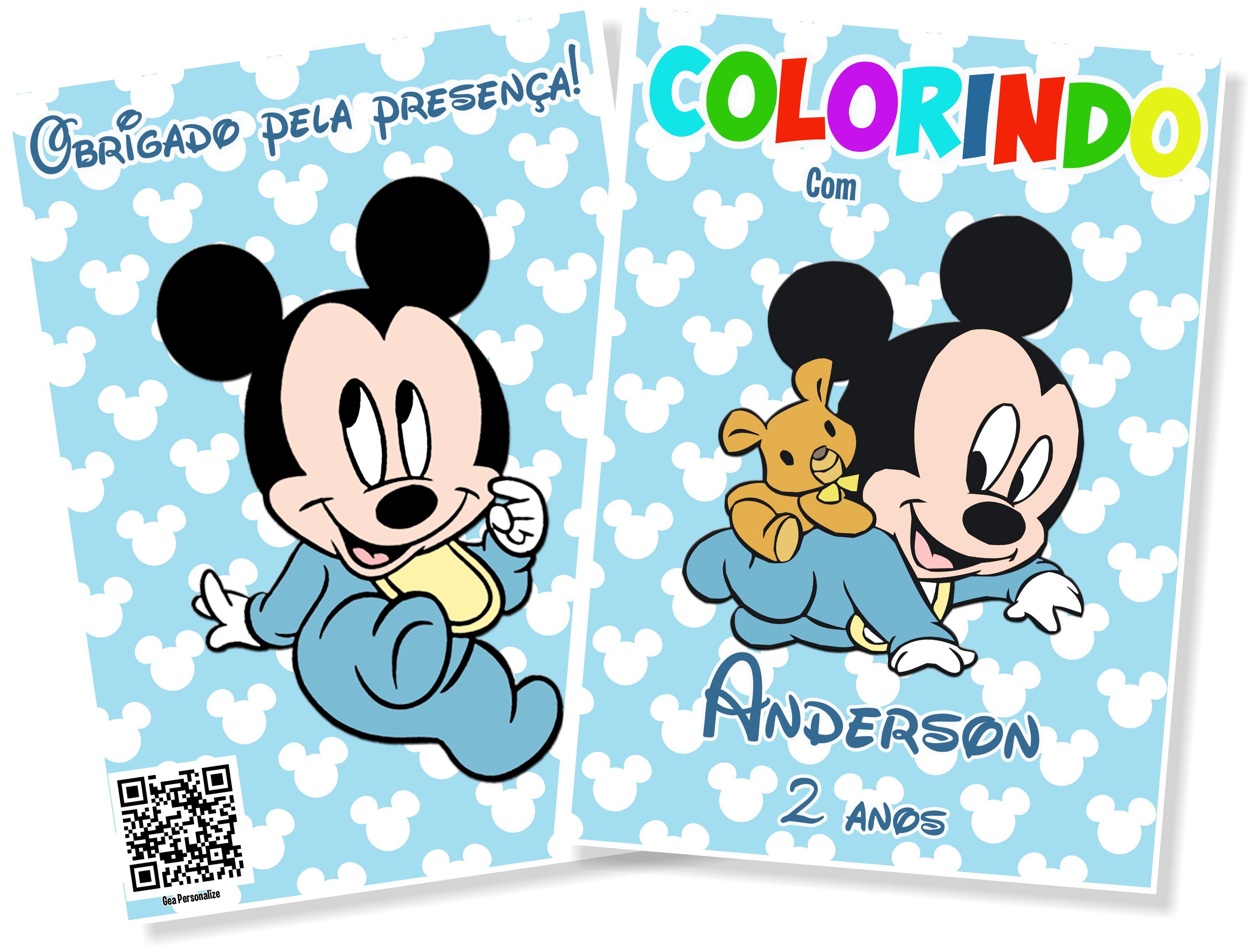 Livro De Colorir 10x15 Mickey Baby No Elo7 G A Personalize Af5b84