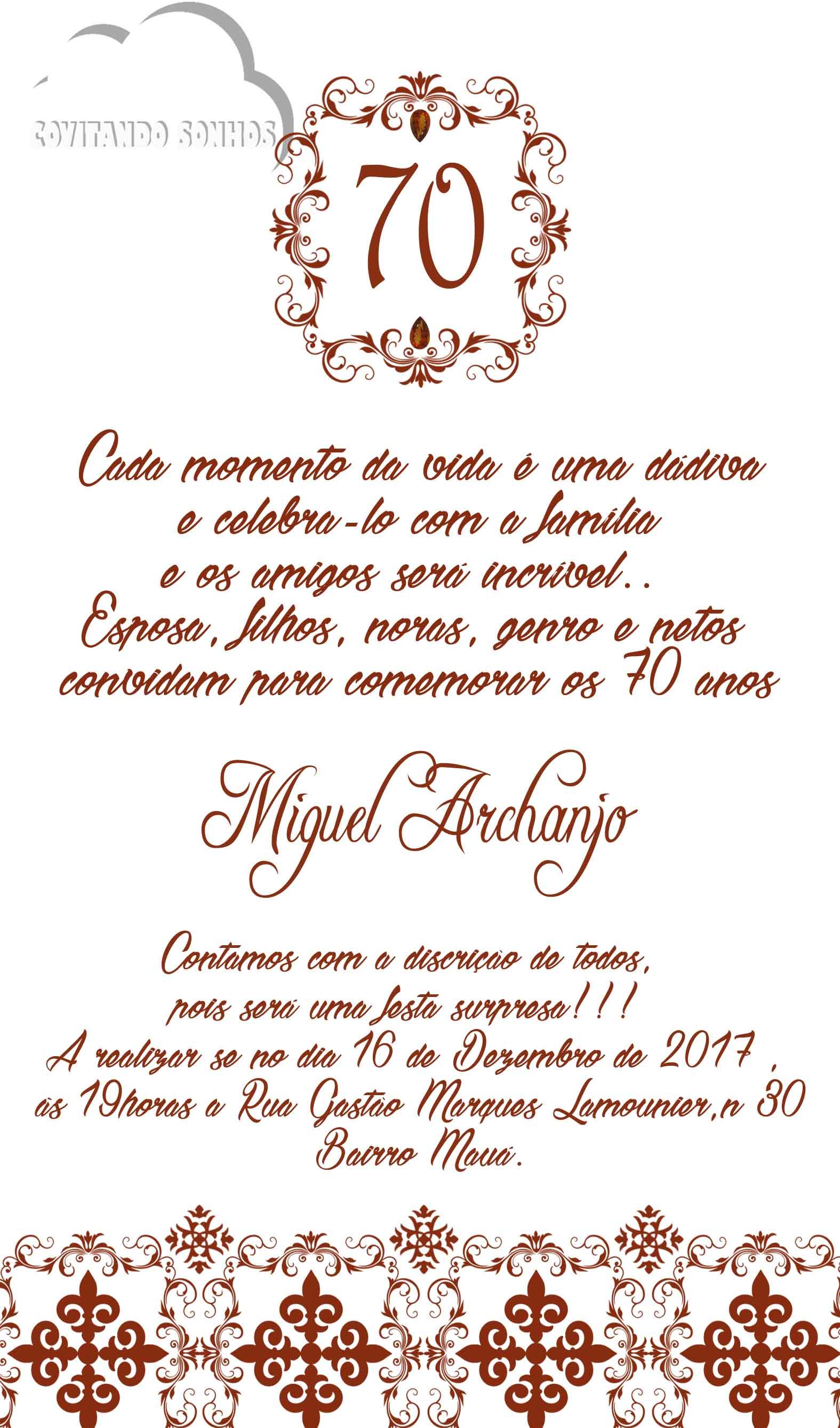 Convite 70 Anos Masculino Elo7