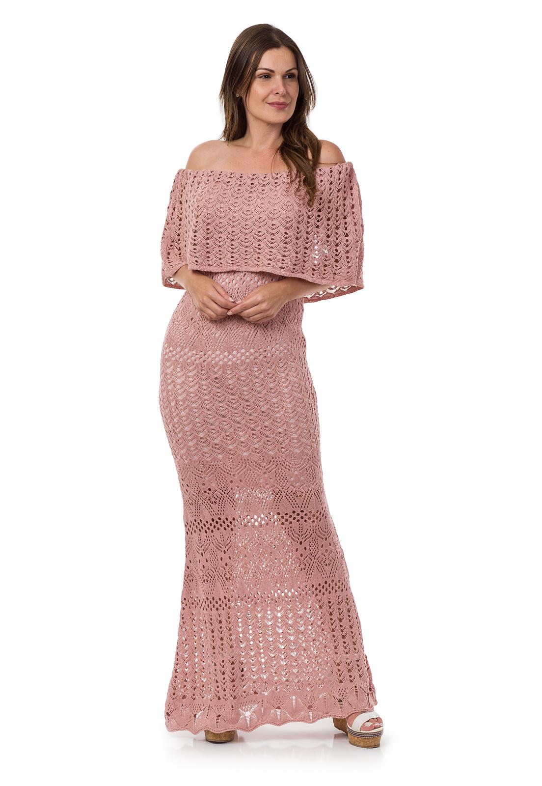 e4d68dcf012b Vestido Longo Feminino Tricot Ombro a Ombro Rosa Claro 04798 no Elo7 | Loja  Pink Tricot (B051A8)
