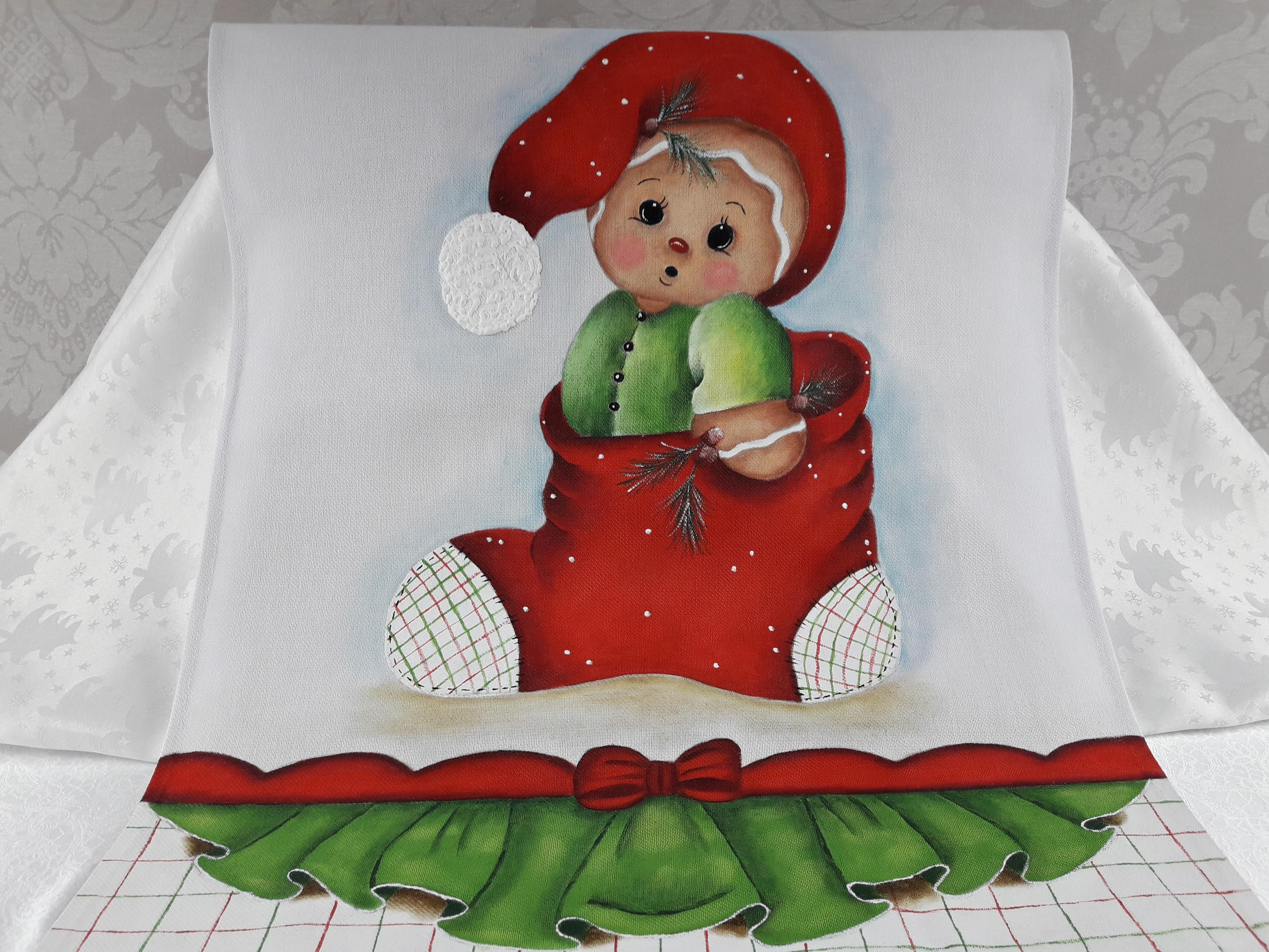 Pano De Prato Pintura Natal No Elo7 Bonecolandia B0567f