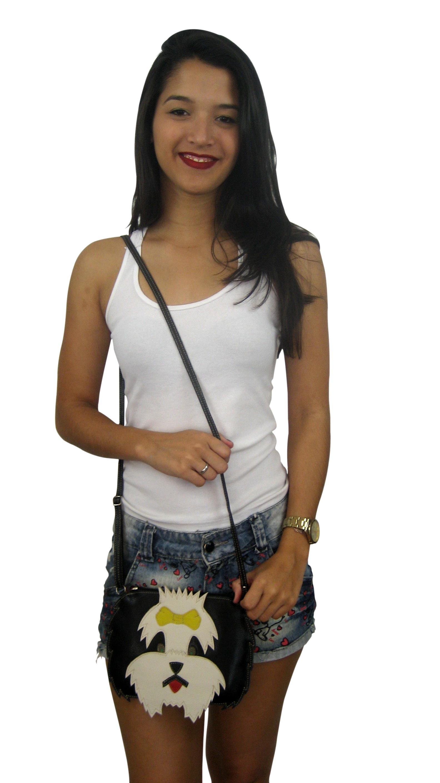 2c94c56ac Bolsa Transversal Feminina Couro Legítimo Cachorrinha Lili no Elo7 |  Madamix Acessórios (B08E07)