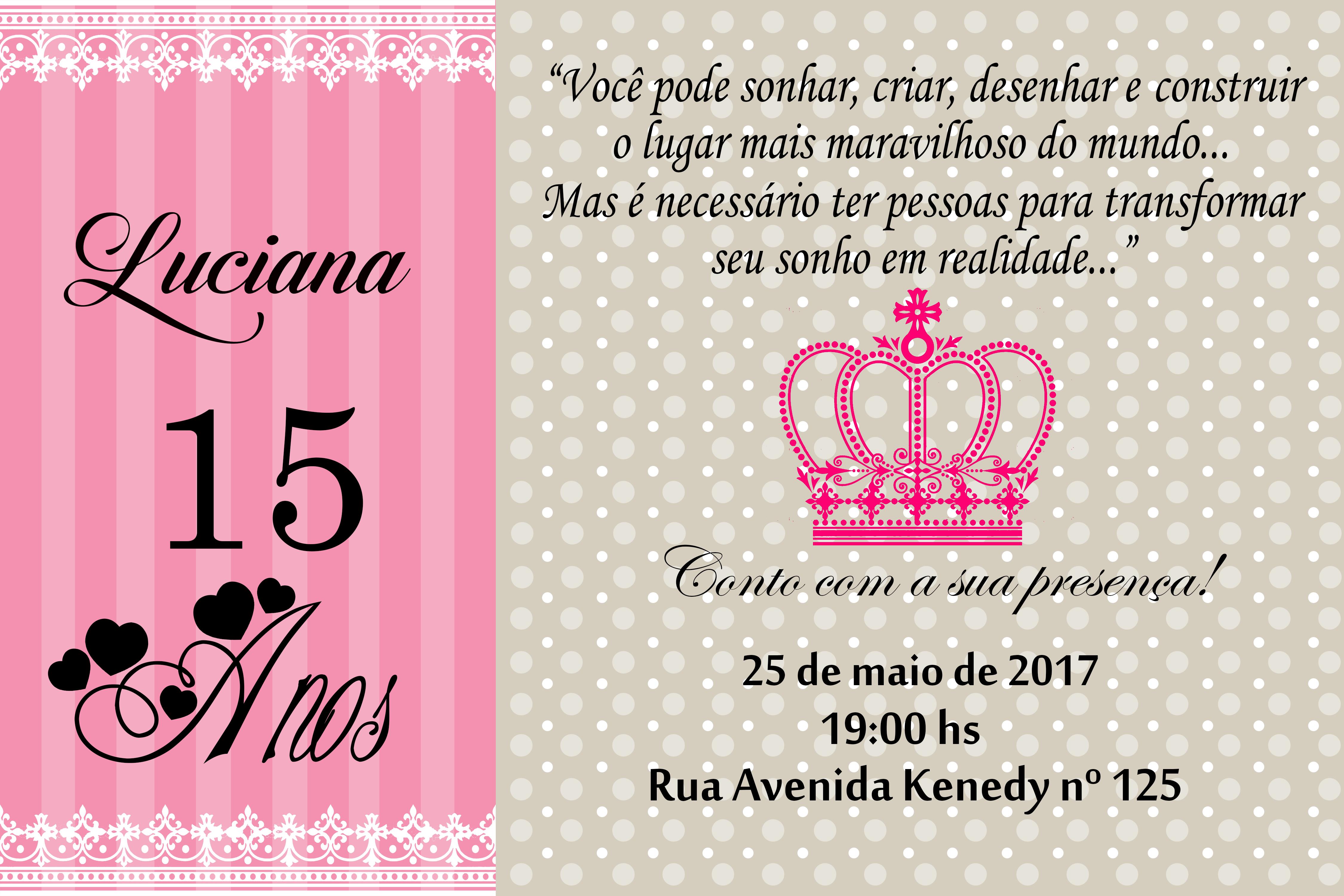 Convite 15 Anos Rosa Elo7