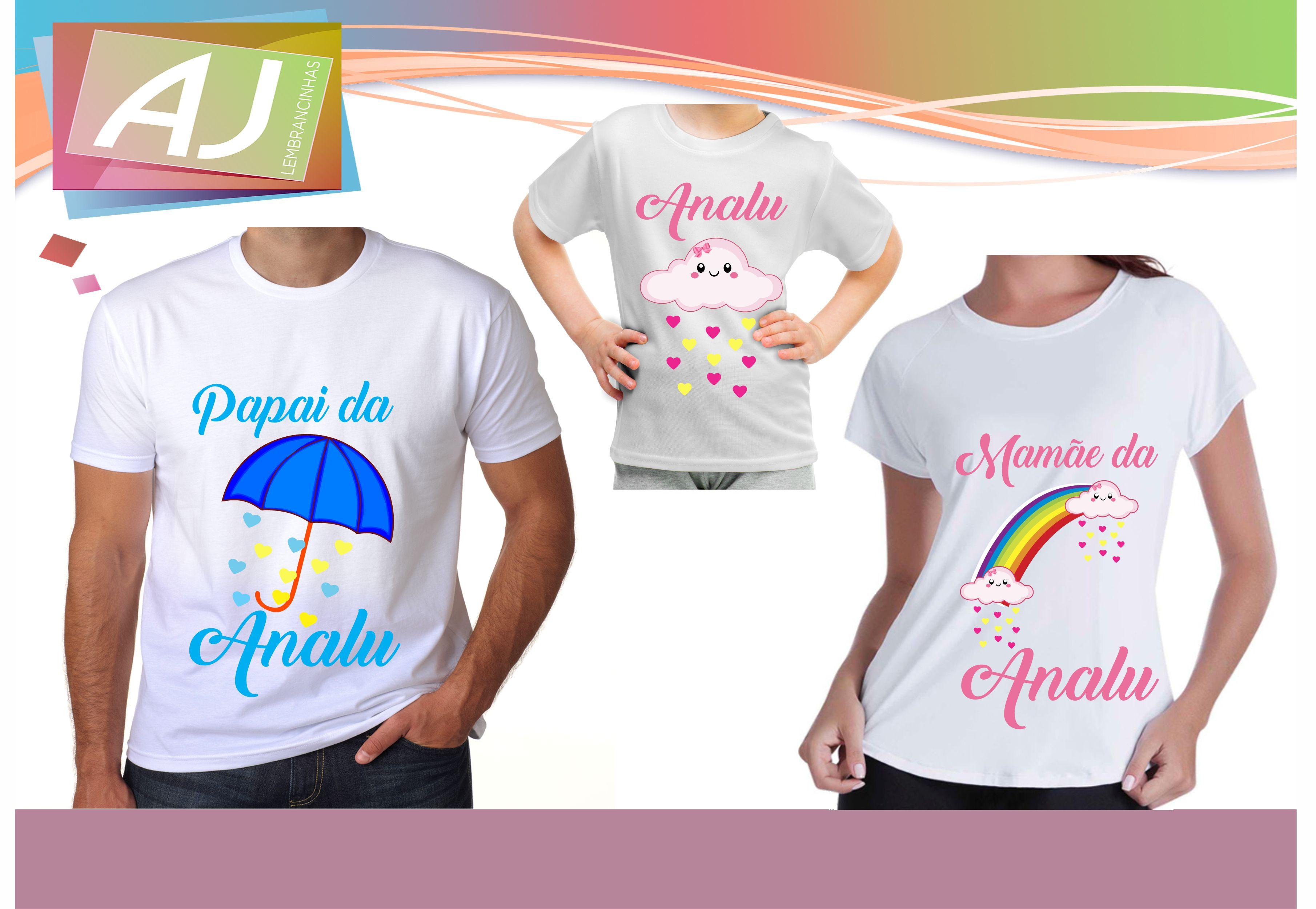 Camiseta Personalizada Kit Aniversário Chuva de Amor  a6c77f5fdd39e