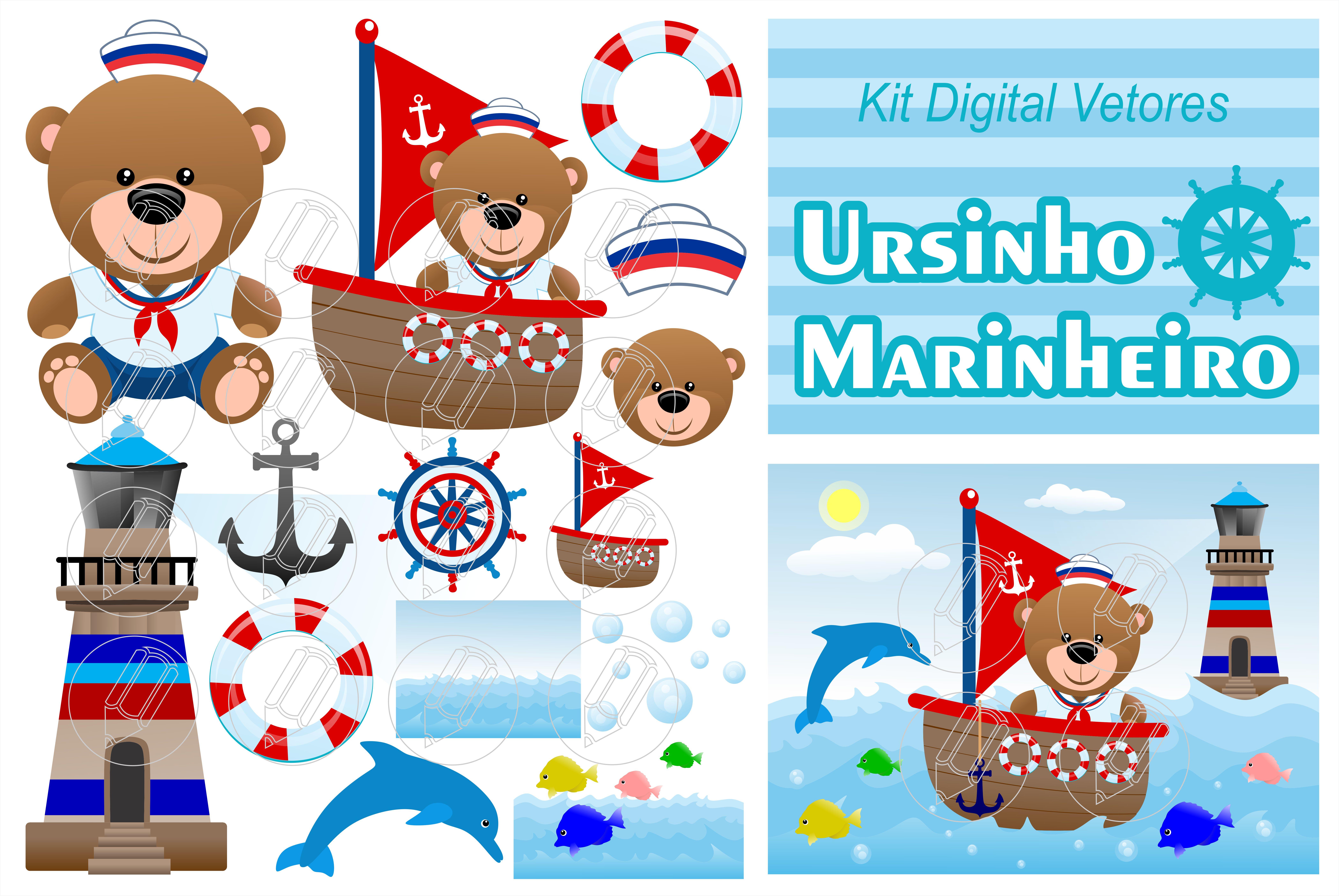 Ursinho Urso Marinheiro Kit Digital Vetor Imagens No Elo7 Mr