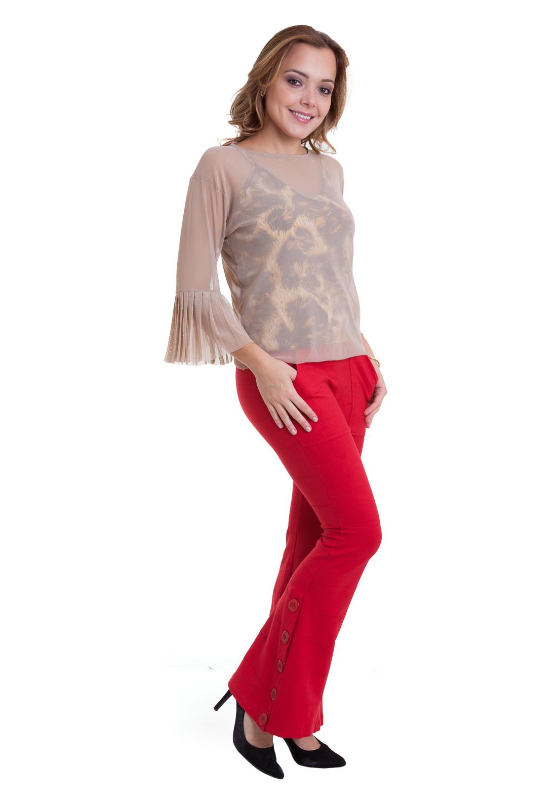Calças Flare - Coleção de Rosa Inglesa ( ROSAINGLESA)  7b609513f5d18