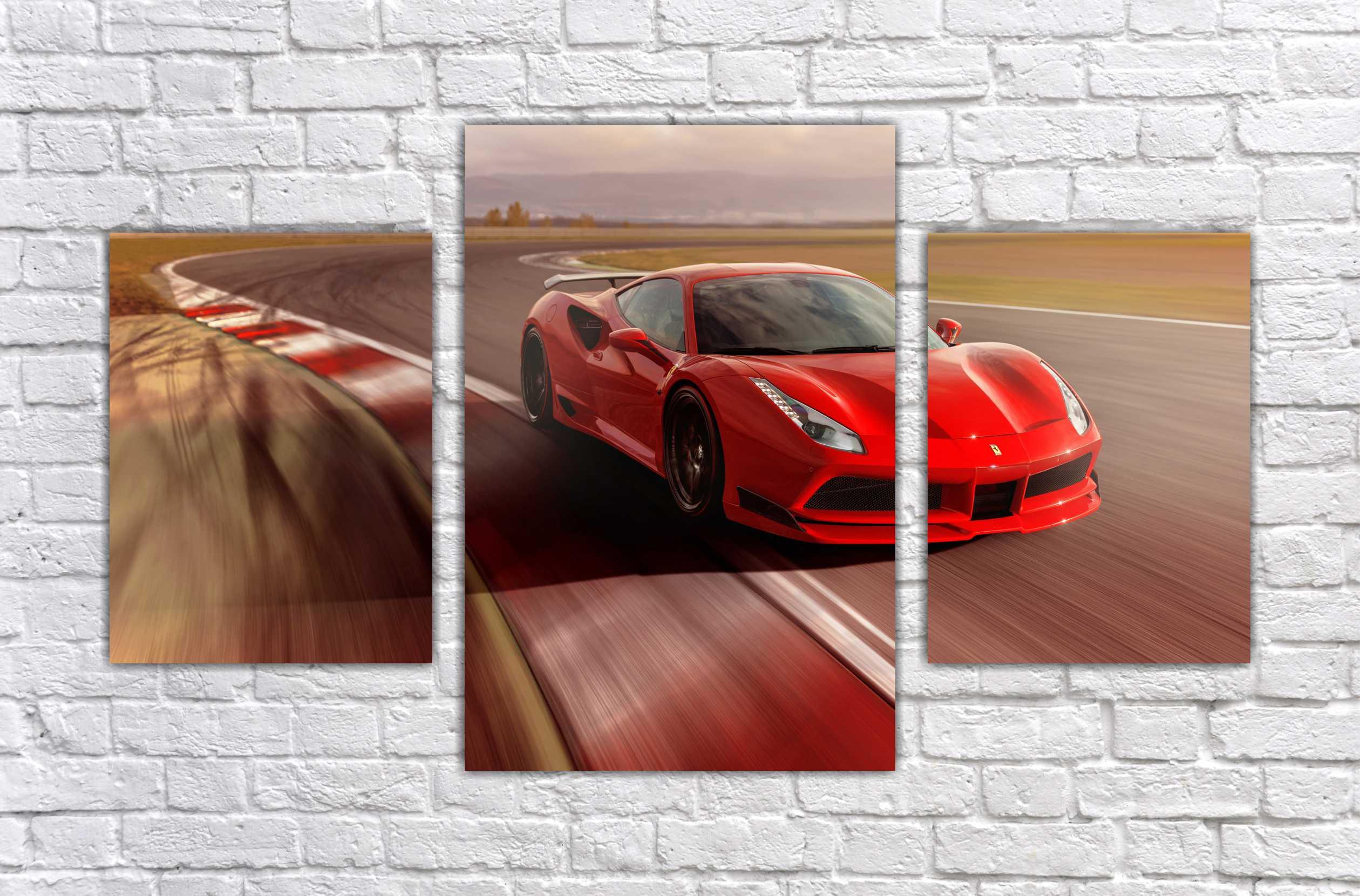 Quadro Decorativo Ferrari Super Carros com 3 Pecas 2  a4014dd243e