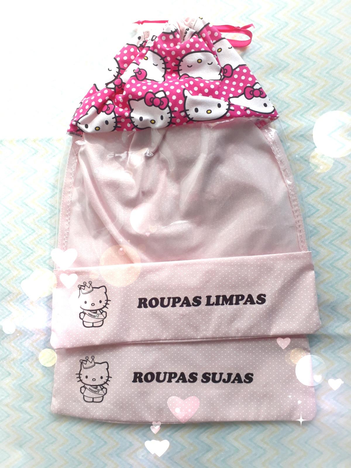 e26e2ddbb1 Kit Sacola Organizadora Roupa Limpa   Roupa suja Hello Kitty no Elo7 ...